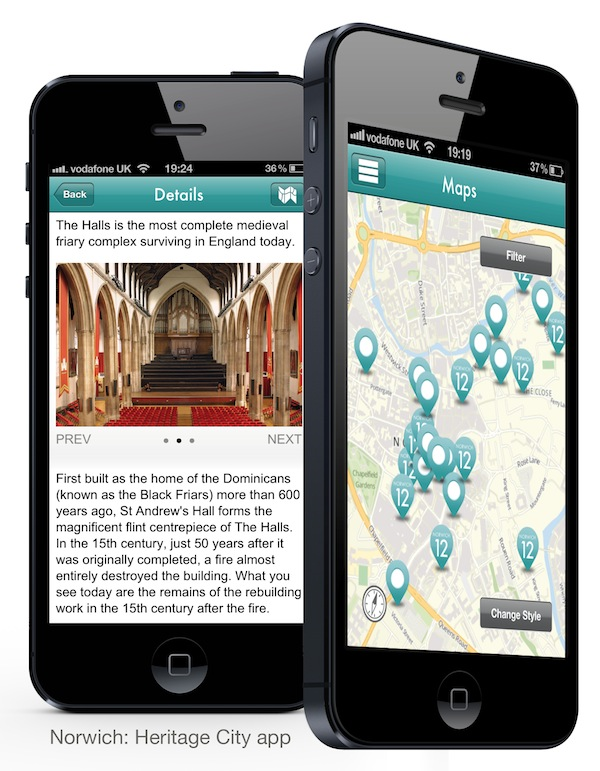 Screenshots from the Norwich Heritage apps (iPhone and Android)