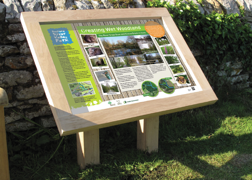Forest of Marston Vale oak lectern interpretation panel