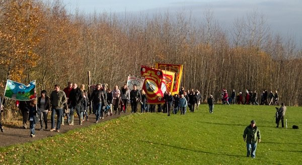 The 40th anniversary procession at Lofthouse Colliery