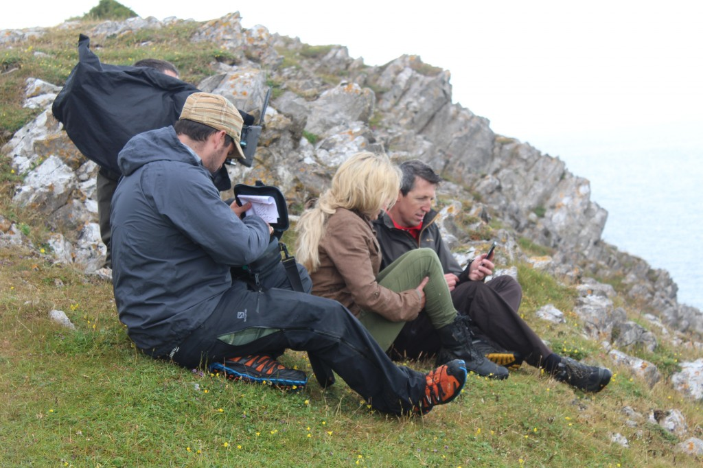 Dan Boys explaining to BBC Countryfile's Ellie Harrison how the Gower app works.