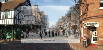 SUPERimposed old photo on camera view from the Tring heritage Trail app