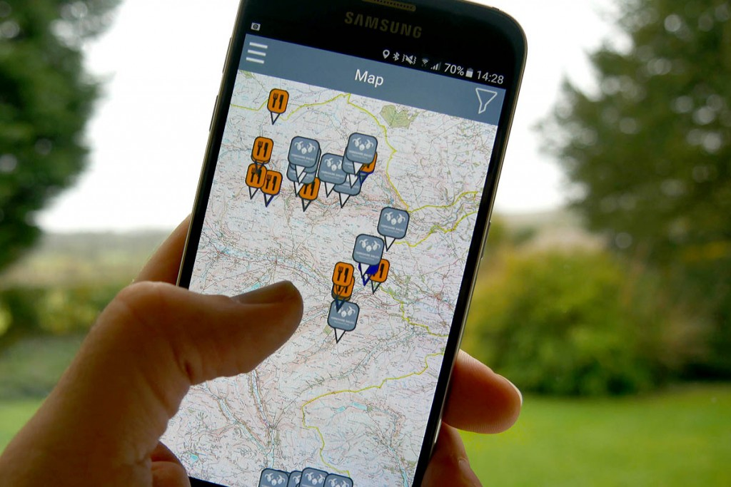 phone with os map displaying lead mining points of interest