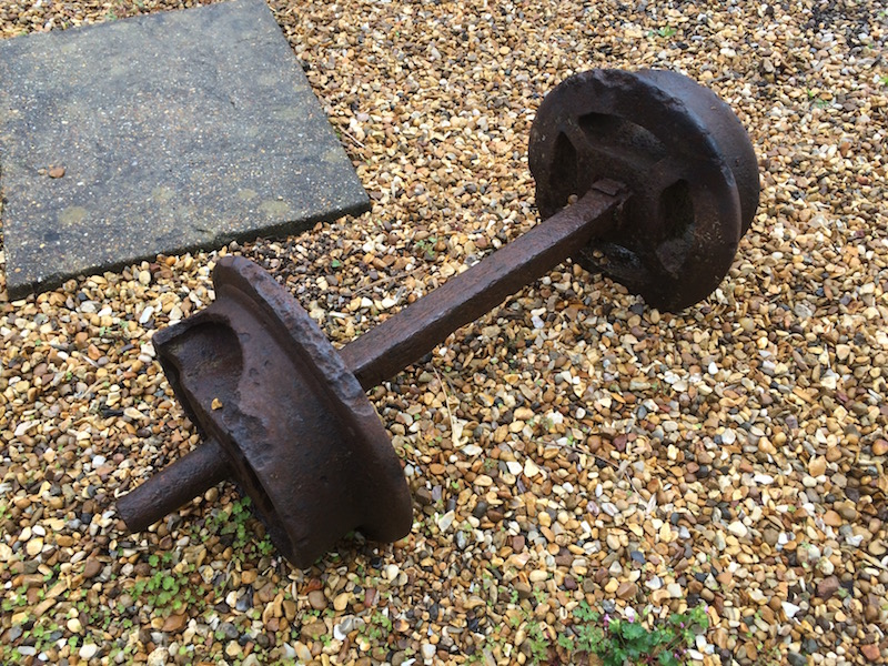 Bogey wheels from one of the tramway trucks now living at Foxtwood Cottages