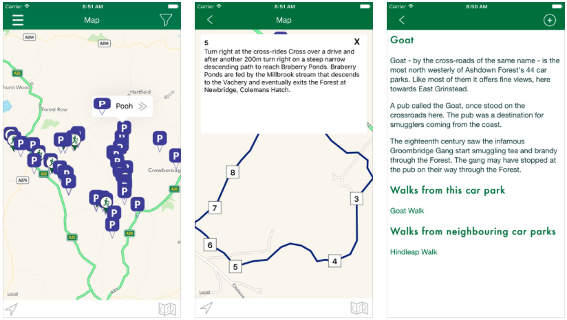 Screenshots from the Ashdown Forest Explorer iOS app